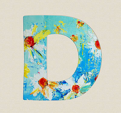 Chris Walter Rock N Roll - Letter D Roman Alphabet - A Floral Expression of Typography Art by Patricia Awapara