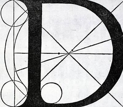 Capital Drawing - Letter D by Leonardo Da Vinci