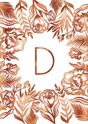 Digital Art - Letter D - Rose Gold Glitter Flowers by Ekaterina Chernova