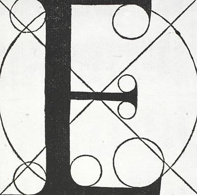Divine Drawing - Letter E by Leonardo Da Vinci