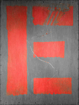 Photograph - Letter E Red On Steel by Julie Niemela