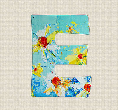 Painting - Letter E - Roman Alphabet - A Floral Expression, Typography Art by Patricia Awapara
