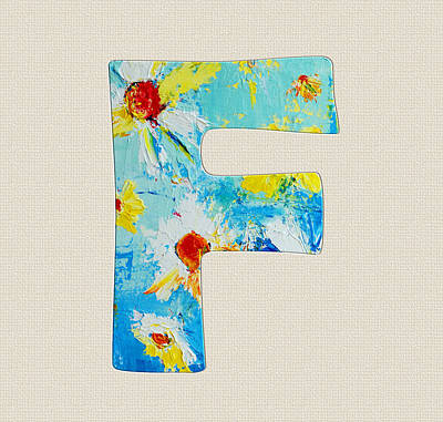 Painting - Letter F Roman Alphabet  - A Floral Expression, Typography Art by Patricia Awapara