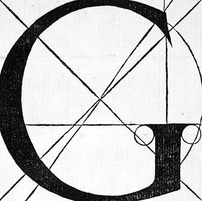 Divine Drawing - Letter G by Leonardo Da Vinci