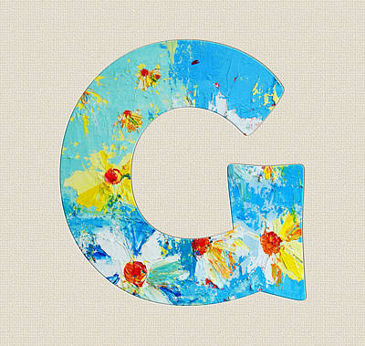 Painting - Letter G Roman Alphabet - A Floral Expression, Typography Art by Patricia Awapara