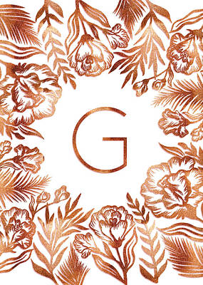 Digital Art - Letter G - Rose Gold Glitter Flowers by Ekaterina Chernova