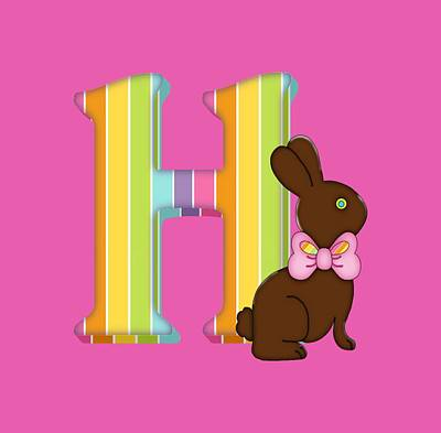 Digital Art - Letter H Chocolate Easter Bunny by Debra Miller