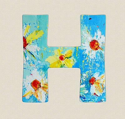 Painting - Letter H Roman Alphabet - A Floral Expression, Typography Art by Patricia Awapara