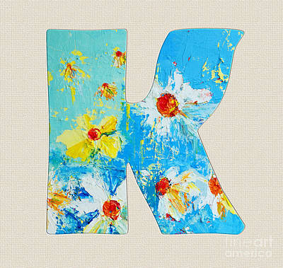 Painting - Letter K Roman Alphabet, A Floral Expression, Typography Art by Patricia Awapara