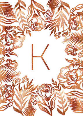 Digital Art - Letter K - Rose Gold Glitter Flowers by Ekaterina Chernova