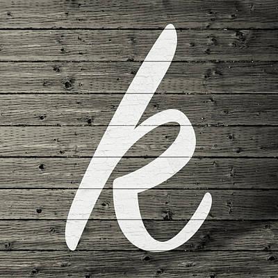 Monogram Mixed Media - Letter K White Paint Peeling From Wood Planks by Design Turnpike