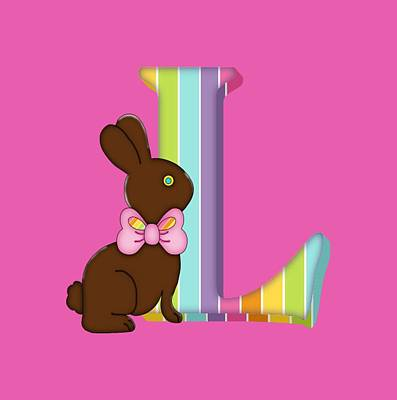 Digital Art - Letter L Chocolate Easter Bunny by Debra Miller