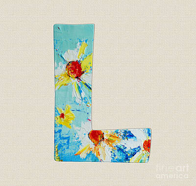 Painting - Letter L Roman Alphabet -  A Floral Expression, Typography Art by Patricia Awapara