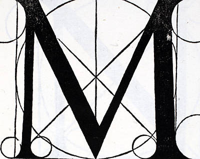Capital Drawing - Letter M by Leonardo Da Vinci