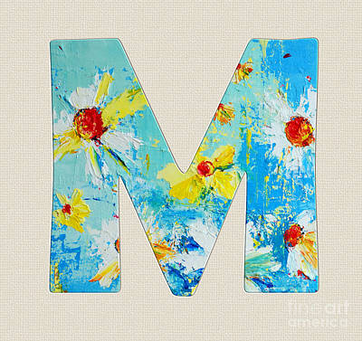 Painting - Letter M Roman Alphabet - A Floral Expression, Typography Art by Patricia Awapara