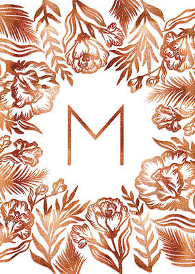 Digital Art - Letter M - Rose Gold Glitter Flowers by Ekaterina Chernova