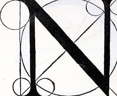 Capital Drawing - Letter N by Leonardo Da Vinci