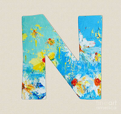 Painting - Letter N Roman Alphabet - A Floral Expression, Typography Art by Patricia Awapara