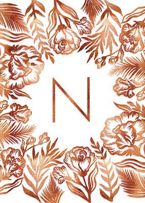 Digital Art - Letter N - Rose Gold Glitter Flowers by Ekaterina