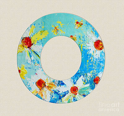 Painting - Letter O Roman Alphabet - A Floral Expression, Typography Art by Patricia Awapara