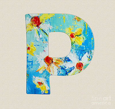 Painting - Letter P Roman Alphabet - A Floral Expression, Typography Art by Patricia Awapara