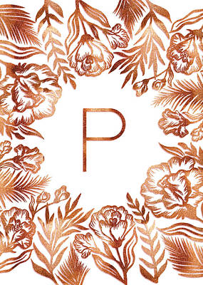 Digital Art - Letter P - Rose Gold Glitter Flowers by Ekaterina Chernova