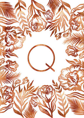 Digital Art - Letter Q - Rose Gold Glitter Flowers by Ekaterina