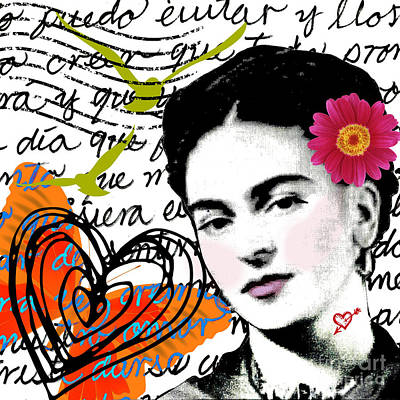 Restaurant Inspired Art Mixed Media - Letter To Frida - Carta A Frida by Laura  Gomez