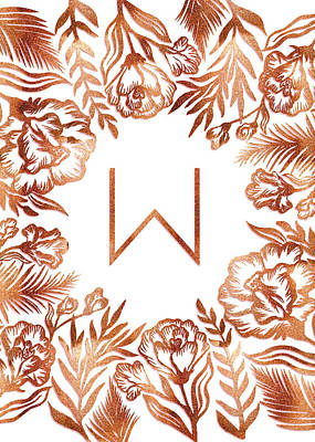 Digital Art - Letter W - Rose Gold Glitter Flowers by Ekaterina