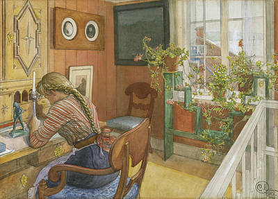 Carl Larsson Painting - Letter-writing by Carl Larsson