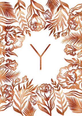 Digital Art - Letter Y - Rose Gold Glitter Flowers by Ekaterina
