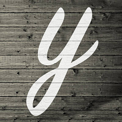 Monogram Mixed Media - Letter Y White Paint Peeling From Wood Planks by Design Turnpike