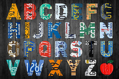 Teacher Mixed Media - Letters Of The Alphabet Recycled Vintage License Plate Art With Apple Colorful School Nursery Kids Room Print by Design Turnpike
