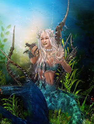 Mermaid Digital Art - Letting Go by Mary Hood