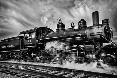 Virgina Photograph - Letting Off Steam Black And White by Garry Gay