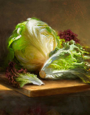 Food And Beverage Wall Art - Painting - Lettuce by Robert Papp
