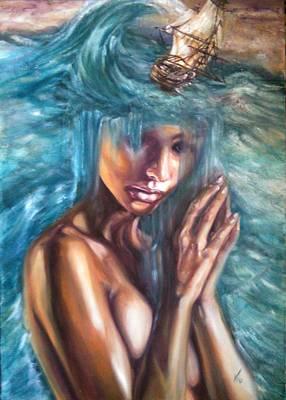 Seastorm Painting - Leucothea by Violetta Tar