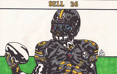 Steelers. Illustration Drawing - Le'veon Bell  by Jeremiah Colley