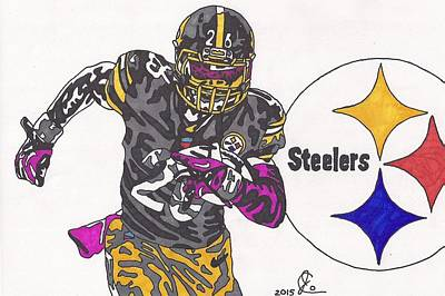 Steelers. Illustration Drawing - Le'veon Bell 2 by Jeremiah Colley
