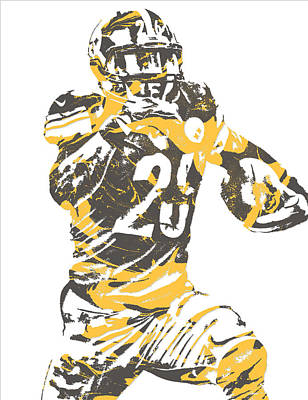 Pittsburgh Steelers Mixed Media - Leveon Bell Pittsburgh Steelers Pixel Art 10 by Joe Hamilton