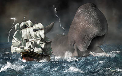 Whale Digital Art - Leviathan by Daniel Eskridge