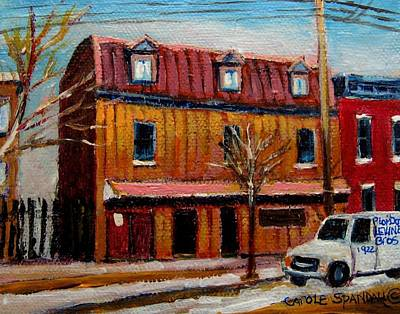 Montreal Winterscenes Painting - Levine Brothers Plumbers Montreal by Carole Spandau