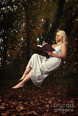 Floating Girl Photograph - Levitation With Book by Amanda Elwell