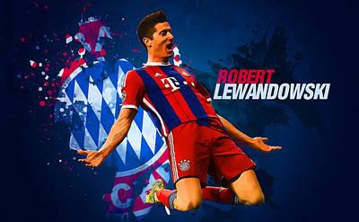 Bayern Digital Art - Lewandowski by Semih Yurdabak