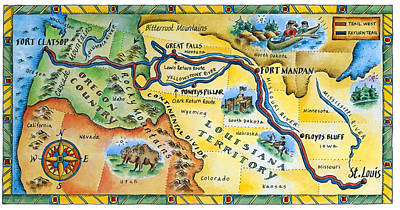 Lewis & Clark Expedition Map Art Print by Jennifer Thermes