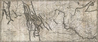 Hand Drawn Photograph - Lewis And Clark Hand-drawn Map Of The Unknown  1804 by Daniel Hagerman
