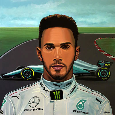 Painting - Lewis Hamilton Painting by Paul Meijering