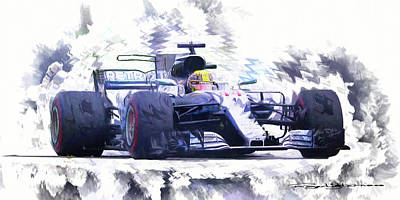 Digital Art - Lewis Hamilton by Roger Lighterness