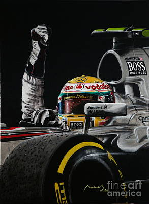 919 Painting - Lewis Hamilton Victory by Alain Baudouin