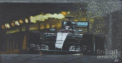 Benetton Wall Art - Drawing - Lewis Hamilton Victory At Montecarlo 2016 by Lorenzo Benetton
